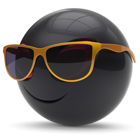 invader: Alien smiley head emoticon face sunglasses cartoon cute monster ball black golden avatar. Cheerful funny smile invader person character toy laughing eyes joy icon concept. 3d render isolated Stock Photo