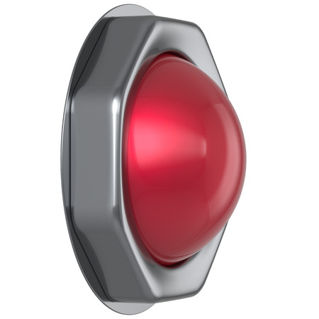 ignition: Button red start turn off on action military game panic push down activate ignition power switch electric design element metallic shiny blank led lamp. 3d render isolated