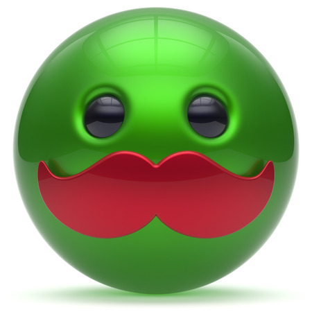 green smiley face: Smiley mustache face cartoon cute emoticon ball happy joyful handsome person green red caricature icon. Cheerful laughing fun sphere positive smile character avatar. 3d render isolated Stock Photo