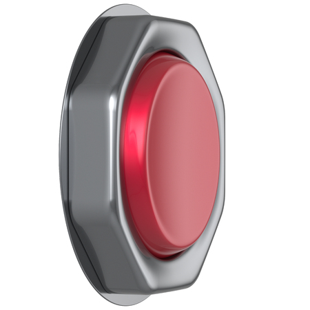 ignition: Button red start turn on off action military game panic push down activate ignition power switch electric design element metallic shiny blank led lamp. 3d render isolated