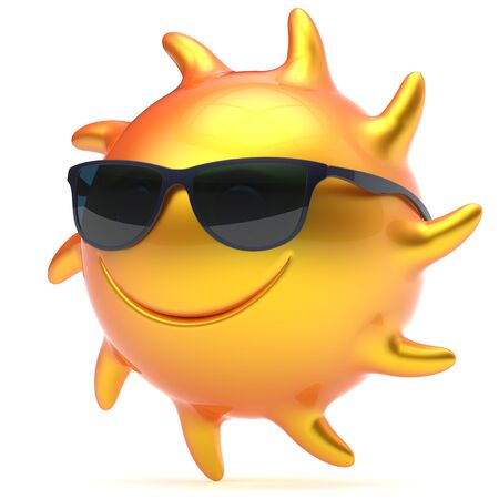 sunbeam: Sun smiley face sunglasses cheerful summer smile cartoon ball emoticon happy yellow orange sunny heat icon. Smiling laughing character vacation holiday chilling sunbathing sunbeam avatar. 3d render