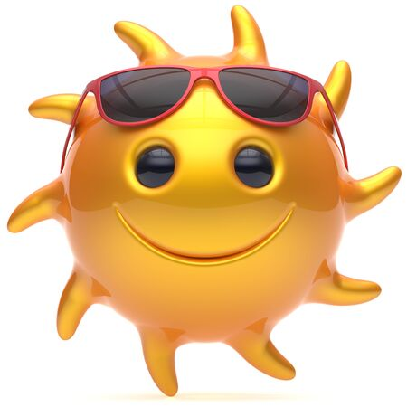 cheerful cartoon: Sun smiley face ball sunglasses cheerful summer smile cartoon emoticon happy yellow orange sunny heat icon. Smiling laughing character vacation holiday chilling sunbathing sunbeam avatar. 3d render
