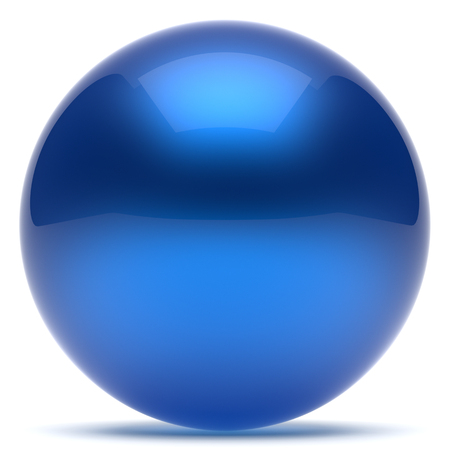 render: Sphere ball blue geometric shape button round basic circle solid figure simple minimalistic element single shiny glossy sparkling object blank balloon atom icon. 3d render isolated