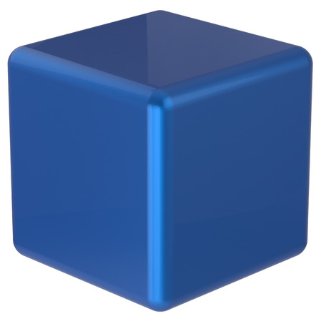 basic figure: Box cube blue geometric shape dice block basic solid square brick figure simple minimalistic glossy element single shiny blank object. 3d render isolated