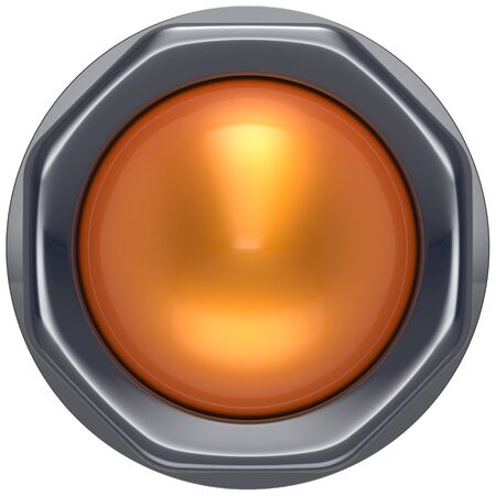 activate: Button orange start turn off on action push down activate ignition power switch electric design element metallic shiny blank yellow. 3d render isolated