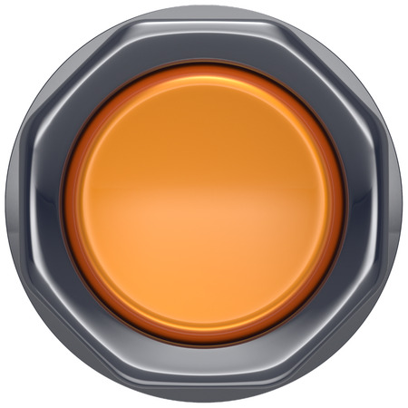 activate: Button orange push down activate ignition power switch start turn off on action electric design element metallic shiny blank yellow. 3d render isolated