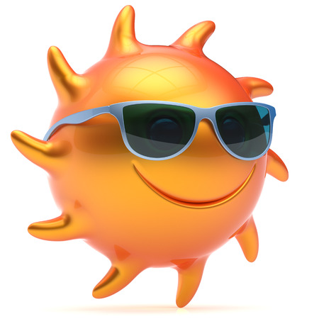 chilling: Smile sun face sunglasses cheerful summer smiley cartoon ball emoticon happy yellow orange sunny heat icon. Smiling laughing character vacation holiday chilling sunbathing sunbeam avatar. 3d render