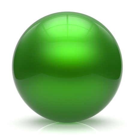 basic shapes: Sphere button ball green round basic circle geometric shape solid figure simple minimalistic element single shiny glossy sparkling object blank balloon atom icon scarlet. 3d render isolated Stock Photo
