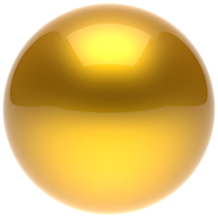 basic shapes: Sphere ball yellow button circle round basic solid bubble figure geometric shape minimalistic simple atom element single golden shiny glossy sparkling object blank balloon icon. 3d render isolated Stock Photo