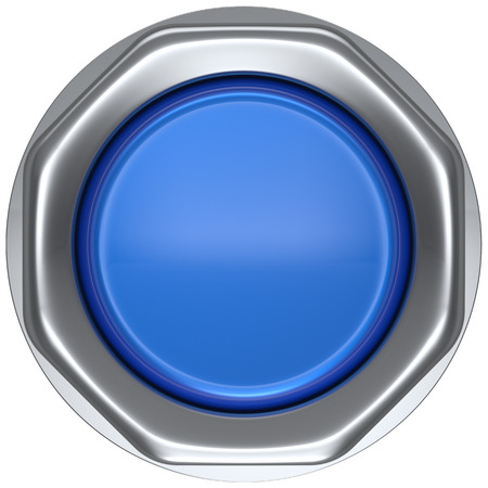 turn down: Button blue activate ignition push down military game panic start turn off on action power switch electric design element metallic shiny blank led lamp. 3d render isolated Stock Photo