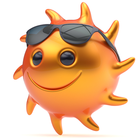 sunbeam: Smiley sun face ball sunglasses cheerful summer smile cartoon emoticon happy yellow orange sunny heat icon. Smiling laughing character vacation holiday chilling sunbathing sunbeam avatar. 3d render
