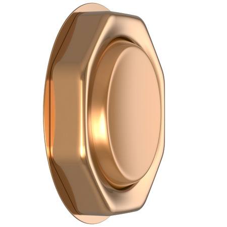 activate: Button golden game win casino luck start turn off on action push down activate ignition power switch electric design element metallic shiny blank gold yellow luxury. 3d render isolated