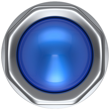 ignition: Button blue push down activate ignition military game panic start turn off on action power switch electric design element metallic shiny blank led lamp. 3d render isolated