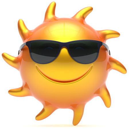 chilling: Smile sun sunglasses cheerful summer face smiley cartoon ball emoticon happy yellow orange sunny heat icon. Smiling laughing character vacation holiday chilling sunbathing sunbeam avatar. 3d render