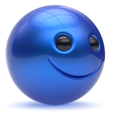blue sphere: Smiling face blue head ball cheerful sphere emoticon cartoon smiley happy decoration cute. Smile funny joyful person laughing joy character toy cyan avatar. 3d render isolated Stock Photo