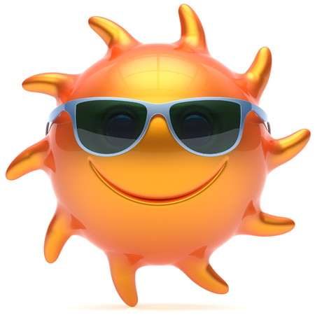 cheerful cartoon: Sun sunglasses smiley cheerful summer face cartoon ball smile emoticon happy yellow orange sunny heat icon. Smiling laughing character vacation holiday chilling sunbathing sunbeam avatar. 3d render