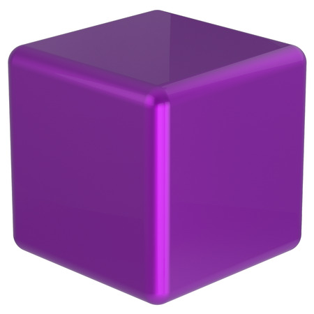 basic: Cube purple box geometric shape block basic solid dice square brick figure simple minimalistic glossy element single shiny blank object. 3d render isolated