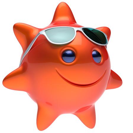 persona feliz: cara de la estrella de smiley sol gafas de sol de verano alegre sonrisa de la historieta balón emoticon feliz naranja calor soleado persona icono rojo. Risa sonriente para vacaciones tomando el sol frío rayo de sol avatar. 3D rinden