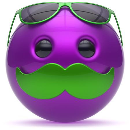 green smiley face: Mustache smiley face cartoon emoticon ball happy purple handsome person caricature green sunglasses icon. Cheerful eyeglasses laughing fun sphere positive smile character avatar. 3D render isolated Stock Photo