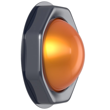 activate: Push button orange start turn on off action activate switch ignition power electric indicator design element metallic yellow shiny blank led lamp. 3d render isolated