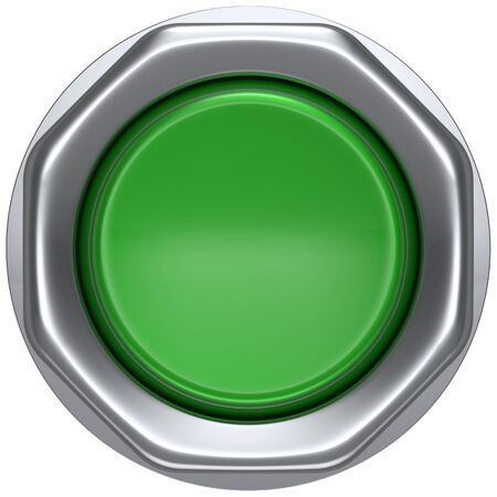 activate: Push down button green indicator activate ignition detector lamp start turn on off action power switch electric design element led metallic shiny blank. 3d render isolated