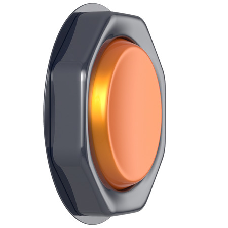 activate: Push down button orange start turn on off action activate switch ignition power electric indicator design element metallic yellow shiny blank led lamp. 3d render isolated Stock Photo