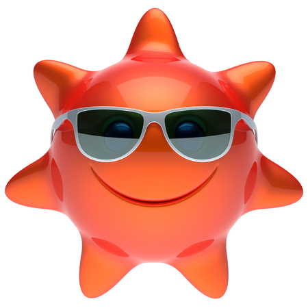 sunbathing: Sun star face smiley sunglasses cheerful summer smile cartoon ball emoticon happy sunny heat red orange person icon. Smiling laughing character holiday chilling sunbathing sunbeam avatar. 3D render