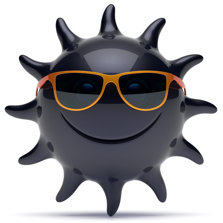 ebony: Smile sun black star face sunglasses cheerful summer smiley cartoon ball emoticon happy sunny heat joke person icon. Smiling laughing character holiday chilling sunbathing tropics avatar. 3D render