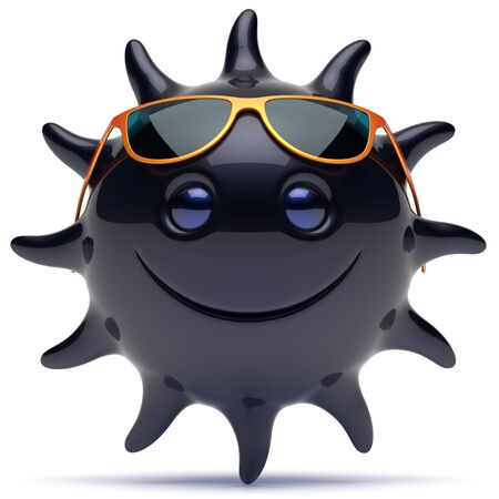 ebony: Smiley black star face sunglasses sun cheerful summer smile cartoon ball emoticon happy sunny joke negative person icon. Smiling laughing character holiday chilling sunbathing ebony avatar. 3D render