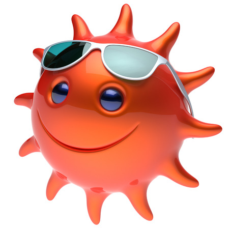 cheerful cartoon: Smile sun star face sunglasses cheerful summer smiley cartoon ball emoticon happy sunny heat red orange person icon. Smiling laughing character holiday chilling sunbathing sunbeam avatar. 3D render Stock Photo