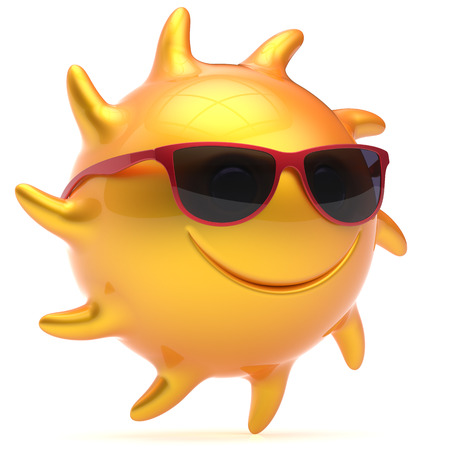 sunglasses recreation: Sun smiley face ball sunglasses cheerful summer star smile cartoon emoticon happy fiery yellow sunny heat icon. Smiling laughing character vacation holiday chilling sunbathing tropic avatar. 3D render Stock Photo