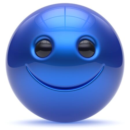 blue ball: Smiley face head ball cheerful sphere emoticon blue cartoon smiling happy decoration cute. Smile funny joyful person laughing joy character toy avatar cyan. 3d render isolated