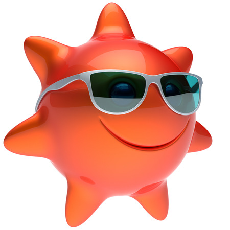 sunbathing: Smiley star sun face sunglasses cheerful summer smile cartoon ball emoticon happy sunny heat orange red person icon. Smiling laughing character holiday chilling sunbathing sunbeam avatar. 3D render Stock Photo