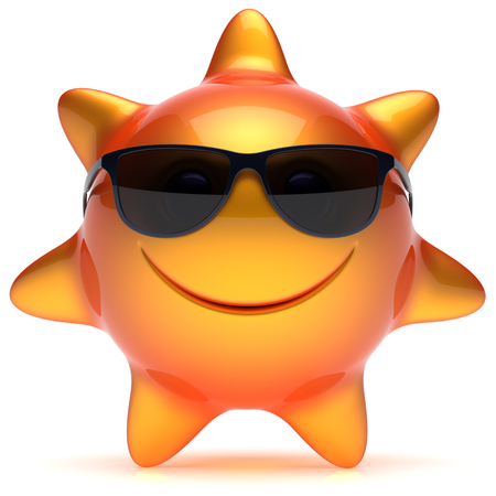 chilling: Smiley sun star face sunglasses summer smile cheerful cartoon ball emoticon happy sunny heat orange yellow person icon. Smiling laughing character holiday chilling sunbathing sunbeam avatar. 3D render