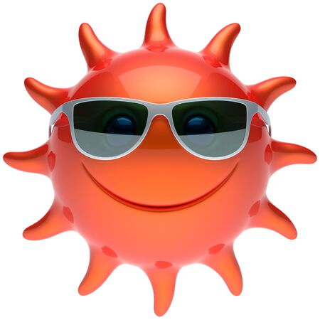 sunbathing: Summer smiley sun face sunglasses cheerful smile cartoon star ball emoticon happy sunny heat red orange person icon. Smiley laughing character holiday chilling sunbathing tropical avatar. 3D render Stock Photo