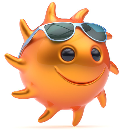 cheerful cartoon: Smiley star sun face ball sunglasses cheerful summer smile cartoon emoticon happy fiery orange sunny heat energy icon. Smiling laughing character vacation holiday chilling sunbathing avatar. 3D render Stock Photo