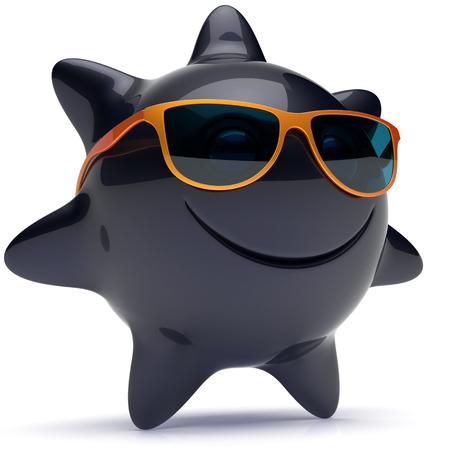 persona feliz: Sun estrella sonriente cara alegre gafas de sol del verano de dibujos animados sonrisa bola emoticon feliz de calor soleado persona icono naranja negro. Risa sonriente para vacaciones tomando el sol frío rayo de sol avatar. 3D rinden Foto de archivo