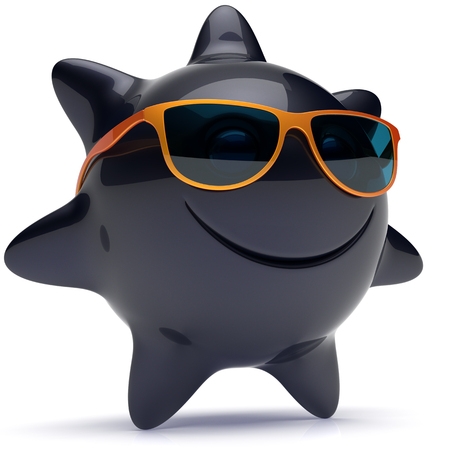 chilling: Sun star smiley face sunglasses cheerful summer smile cartoon ball emoticon happy sunny heat black orange person icon. Smiling laughing character holiday chilling sunbathing sunbeam avatar. 3D render Stock Photo