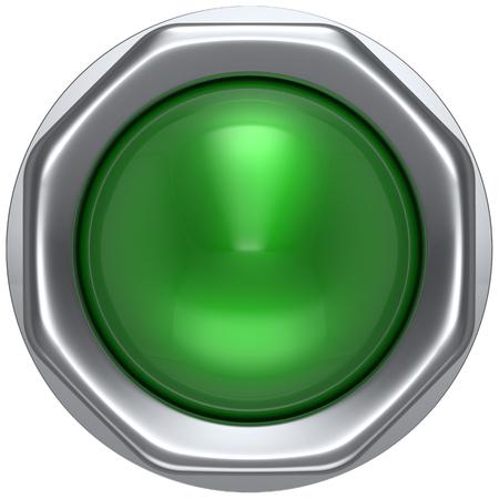 Pulsante spia verde attivare l'accensione del rivelatore di avvio della lampada spegnere l'alimentazione azione interruttore elettrico elemento di design ha portato metallico bianco lucido. Rendering 3D isolato Archivio Fotografico