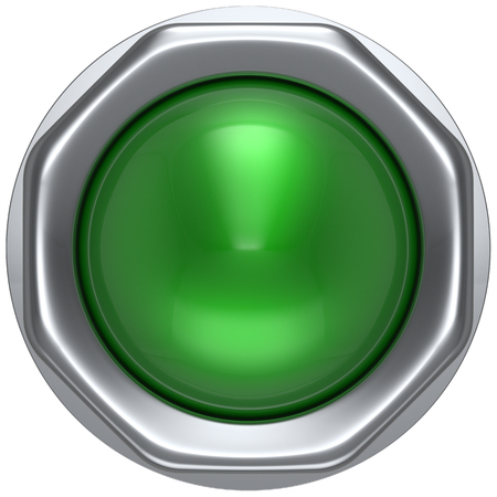 button: Push button green indicator activate ignition detector lamp start turn off on action power switch electric design element led metallic shiny blank. 3d render isolated
