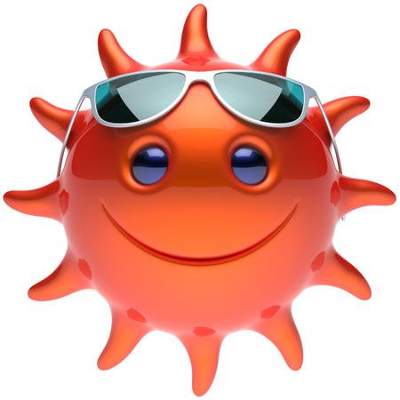 persona feliz: sol del verano gafas de sol sonrientes de la cara alegre sonrisa de la historieta balón estrellas emoticon feliz de calor soleado persona icono de color rojo anaranjado. Sonriente de risa vacaciones carácter refrigeración tomar el sol tropical avatar. 3D rinden
