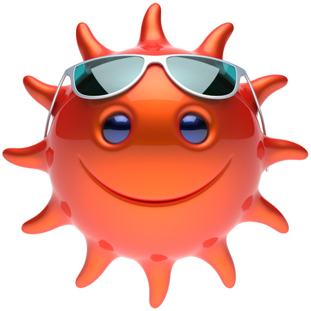 cheerful cartoon: Summer sun smiley face sunglasses cheerful smile cartoon star ball emoticon happy sunny heat red orange person icon. Smiley laughing character holiday chilling sunbathing tropical avatar. 3D render