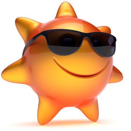sunbeam: Sun star smiley face sunglasses cheerful summer smile cartoon ball emoticon happy sunny heat orange yellow person icon. Smiling laughing character holiday chilling sunbathing sunbeam avatar. 3D render Stock Photo
