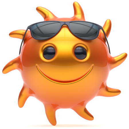 sunbathing: Smile sun face cartoon character star ball cheerful sunglasses summer smile emoticon happy fiery orange sunny heat energy icon. Smiling laughing vacation holiday chilling sunbathing avatar. 3D render