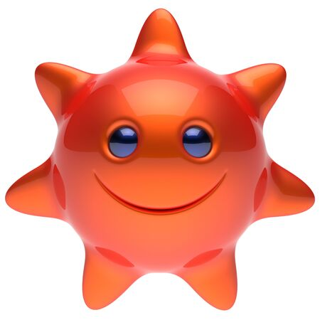 chilling: Sun star smiley face cheerful summer smile cartoon ball emoticon happy sunny heat red orange person icon. Smiling laughing character hot holiday chilling sunbathing sunbeam avatar. 3D render