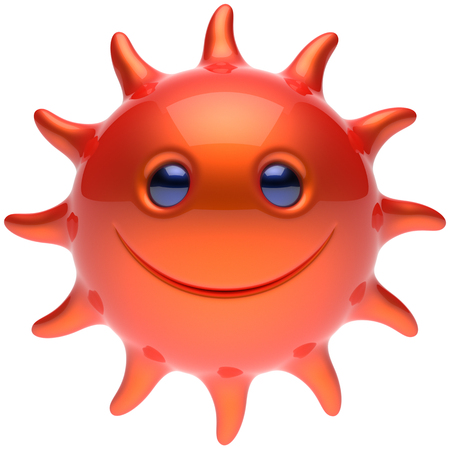 chilling: Summer smiley sun face cheerful smile cartoon star ball emoticon happy sunny energy heat red orange person icon. Smiley laughing character holiday chilling sunbathing tropical avatar. 3D render