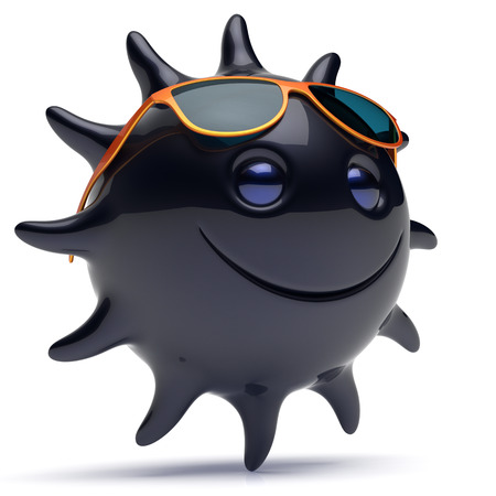 ebony: Black star face smiley sun sunglasses cheerful summer smile cartoon ball emoticon happy sunny joke negative person icon. Smiling laughing character holiday chilling sunbathing ebony avatar. 3D render Stock Photo