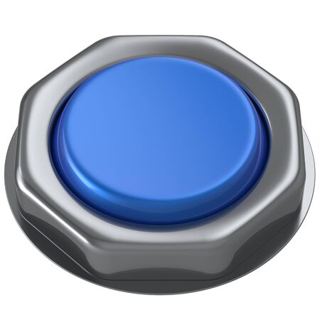 turn down: Push button blue down activate power switch start turn on off action ignition electric design element metallic shiny blank. 3d render isolated