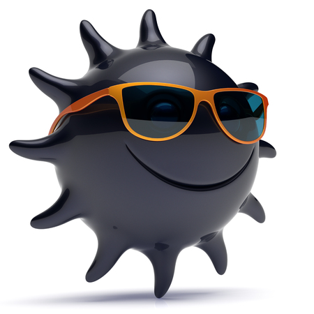 joke: Smiley sun black star face sunglasses cheerful summer smile cartoon ball emoticon happy sunny heat joke person icon. Smiling laughing character holiday chilling sunbathing sunbeam avatar. 3D render