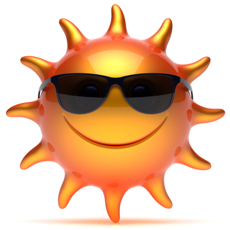 cheerful cartoon: Smiley sun sunglasses star sunny fiery cheerful face summer smile cartoon ball emoticon happy orange yellow person icon. Smiling laughing character holiday chilling sunbathing tropic avatar. 3D render
